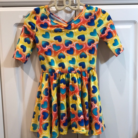NEW Dot Dot Smile BALLERINA Twirly Dress 3//4 SLEEVE Knit Girl Kids Pink Hearts